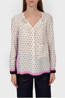 Блуза с розово-черной отделкой