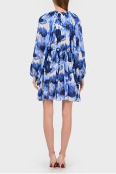Шелковое платье с цветочной аппликацией