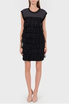 Платье с многоярусными оборками спереди