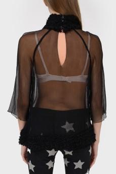 Прозрачная блуза с бахромой