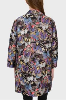 Свободное легкое пальто в вышитых бабочках