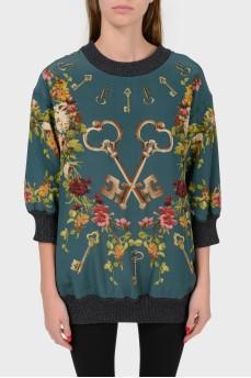 Шелковый свитер с укороченным рукавом