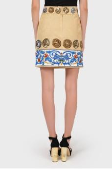 Бежевая юбка из фактурного коттона