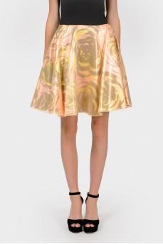Шелковая юбка в розово-золотистых тонах