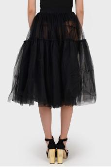 Пышная двуярусная черная юбка