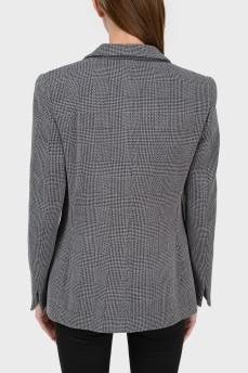 Пиджак шерстяной серый в клетку