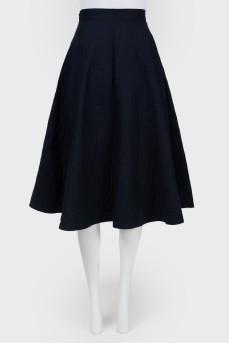 Темно-синяя стеганная юбка