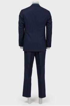 Мужской костюм в голубую и темно-серую полоску