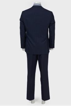 Мужской костюм темно-синий в сине-красную и серую полоску