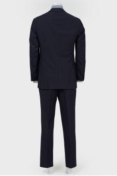 Мужской костюм темно-синий в коричневую полоску