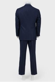 Мужской костюм темно-синий с синюю узкую полоску