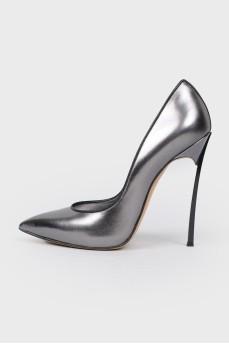 Туфли на шпильке темный металлик