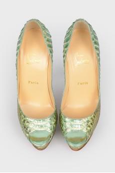 Туфли зеленые из змеиной кожи