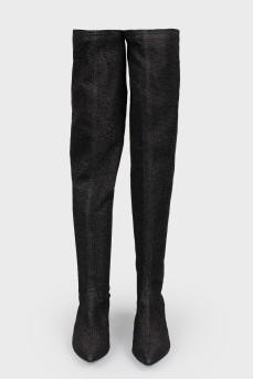 Текстильные черные ботфорты с легким блеском