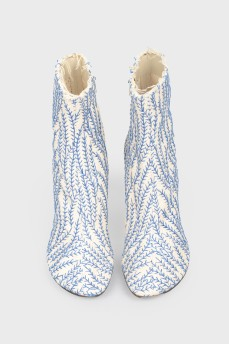 Ботильоны текстильные с синей вышивкой