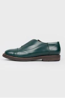 Зеленые туфли без шнурков