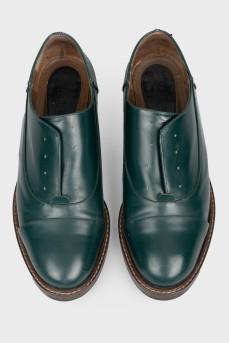 Зеленые мужские туфли без шнурков
