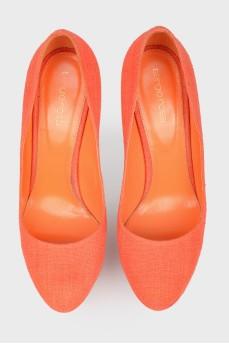 Текстильные туфли на платформе