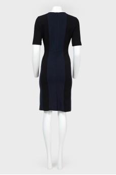 Черное платье с синими вставками