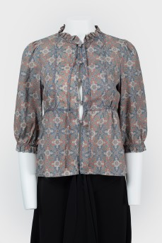 Шелковая блуза с рюшами