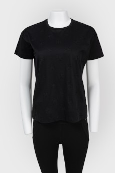 Черная футболка с бархатным принтом