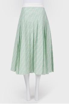 Зеленая юбка в складку