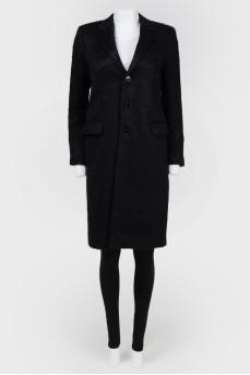 Черное пальто с ворсом