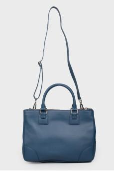 Синяя кожаная сумка с двумя ручками