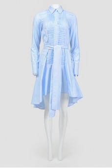 Платье-рубашка с асимметричным низом под пояс