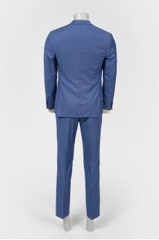 Мужской шерстяной костюм сине-голубого цвета