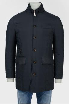 Удлиненная куртка с накладными карманами