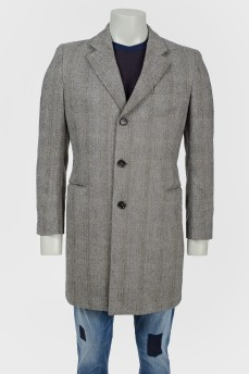 Пальто серое в принт елочка