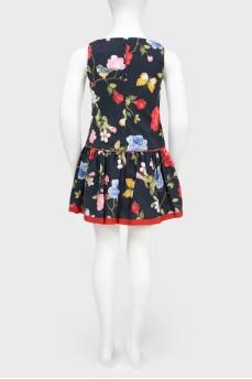 Платье без рукавов в цветочный принт