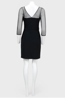 Платье миди со вставкой из сетки