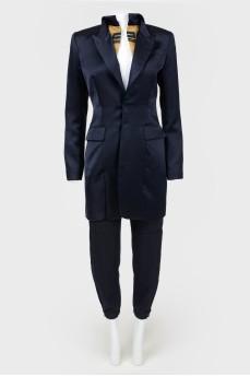 Пиджак удлиненный атласный