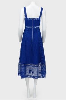 Платье миди на бретелях с полупрозрачными вставками