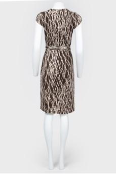 Платье миди на запах с принтом в виде сетей