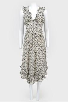 Платье миди в цветочный принт с рюшами