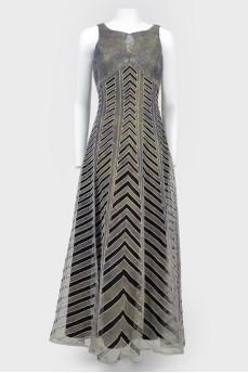 Платье в пол серое на черной подкладке