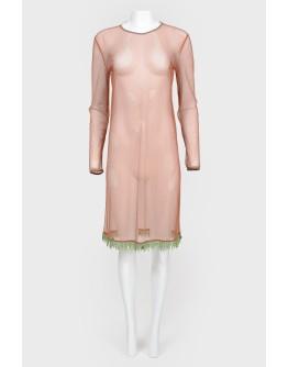 Платье прозрачное с бахромой из бисера