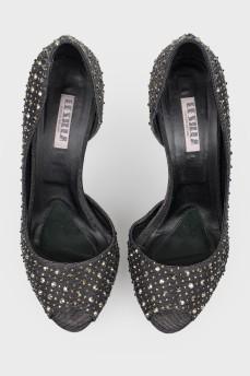 Черно-золотистые туфли LeSilla