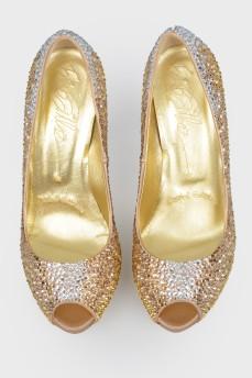 Текстильные туфли с открытым носком LeSilla