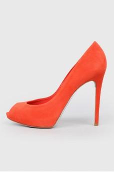 Красные замшевые туфли Rene Caovilla