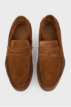Замшевые мужские мокасины коричневые