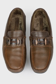 Мокасины мужские кожаные на меху