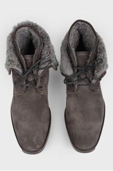 Ботинки серые мужские на меху