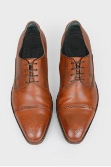 Светло-коричневые броги мужские из кожи