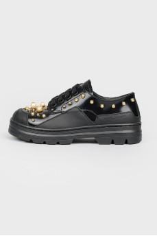 Черные кроссовки детские с золотистыми бусинами с биркой