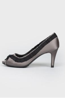 Туфли с открытым носком с текстильной лентой