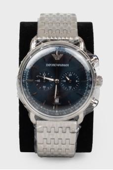 Мужские часы с браслетом серебристого цвета с биркой